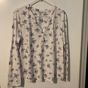 White with Blue Flowers Long Sleeve